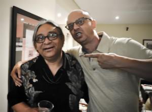 Fernando Ito e Lineu Bravo na inauguração da Escola de Xilogravura no Hotel Olavo Bilac