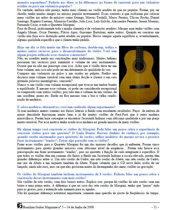 Lineu Bravo na Brazilian Guitar Magazine